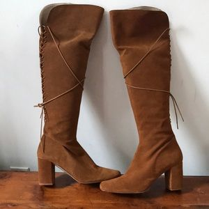 Zara over the knee cognac-colored suede boots